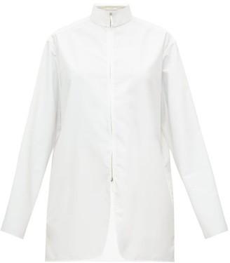 The Row Zana High-neck Zip-through Poplin Shirt - Cream
