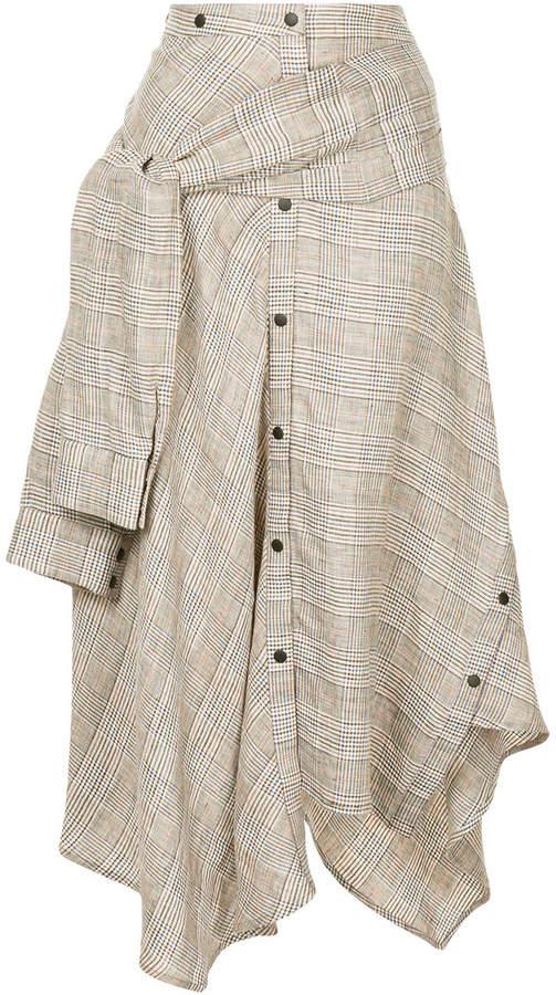 Aula checked asymmetric skirt