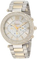 Freelook Women's HA1539GM-3 Silver Mother-Of-Pearl Chronograph Dial Gold Swarovski Bezel Watch