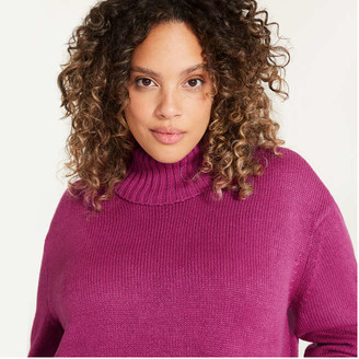 Joe Fresh Women+ Turtleneck Sweater, Fuchsia (Size 2X)