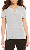 Investments Short Sleeve Split Neck Top