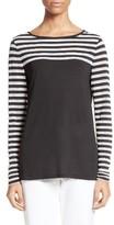 St. John Women's Stripe Mesh Inset Top