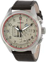 Timex Men's Iq T2P275 Black Leather Analog Quartz Watch with Dial