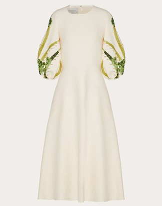 Valentino Embroidered Crepe Couture Dress Women Ivory Virgin Wool 65%, Elastane 35% 36