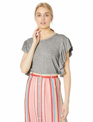Splendid Women's Ruffle Sleeve Crewneck Tee T-Shirt