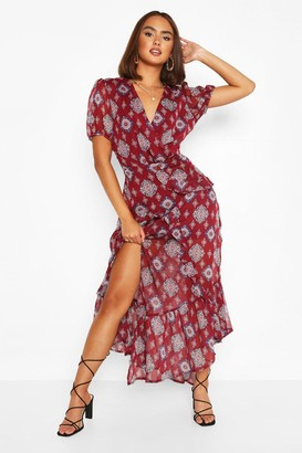 boohoo Tile Print Wrap Midaxi Dress