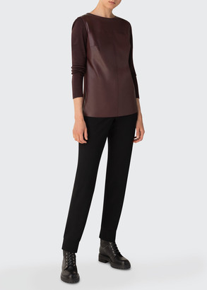 Akris Leather Jersey Contrast Top