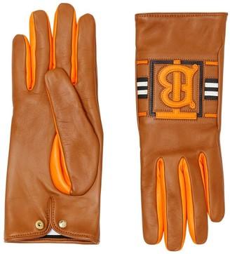 Burberry Monogram Intarsia Cashmere-lined Lambskin Gloves