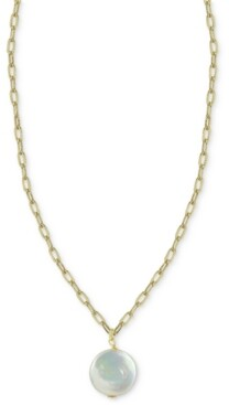 "Argentovivo Cultured Freshwater Baroque Pearl 16"" Pendant Necklace in 14k Gold-Plated Sterling Silver"
