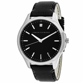 Giorgio Armani Exchange Classic AX2182 Men's Black Leather and Stainless Steel Watch with Diamond Accent