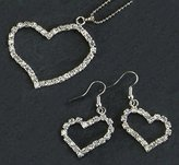Gc Handcrafted Silver and Crystal Single Heart Necklace and Earrings Set