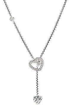 David Yurman Cable Collectibles Heart Y Necklace in Sterling Silver with Pave Diamonds, 21