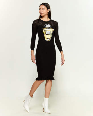 Moschino Long Sleeve Perfume Graphic Pointelle Dress
