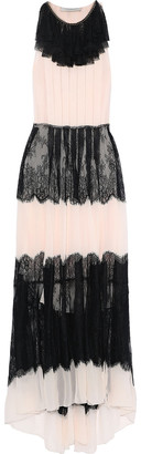 Philosophy di Lorenzo Serafini Paneled Chain-trimmed Chantilly Lace And Silk-chiffon Gown