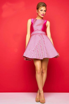 Mac Duggal Evening Gowns - 30323 High Neck Dress In Hot Pink Gold
