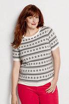 Classic Women's Plus Size Supima Fairisle Short Sleeve Sweater-Ivory/Black Fairisle
