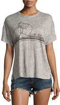 Rag & Bone Palm Embroidery Linen Jersey Tee, Gray