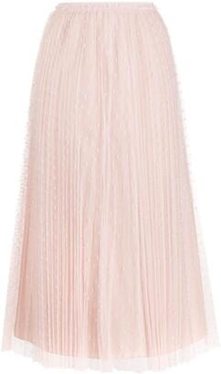 RED Valentino Pleated Tulle Midi Skirt
