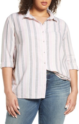 Caslon Cabana Stripe Linen Blend Button Front Top
