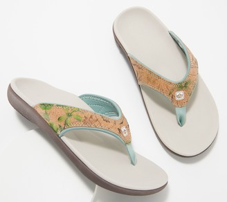 Spenco Orthotic Thong Sandals - Yumi Floral Cork