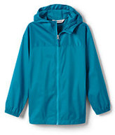 Lands' End Girls Navigator Solid Rain Jacket-Silver