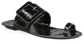 Definery Loop Ring Obsidian Croc-Embossed Leather Sandals