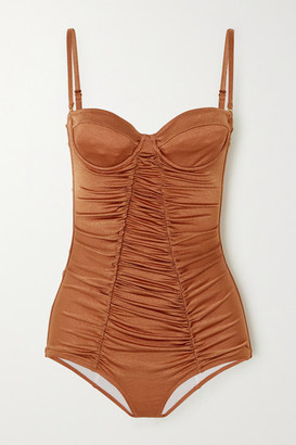 Dodo Bar Or Ann Ruched Underwired Swimsuit - Camel