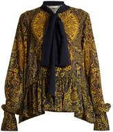 Mary Katrantzou Transcendence Cards-print fil coupé blouse