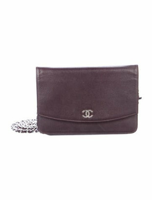 Chanel Caviar CC Wallet On Chain Plum