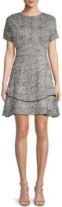 Derek Lam 10 Crosby Printed Silk Blend A-Line Dress