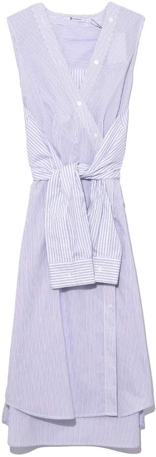 Alexander Wang Striped Shirting Tie Front Midi Dress in Multi Stripe
