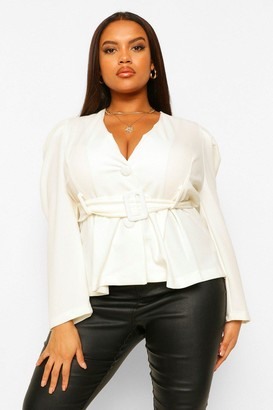 boohoo Plus Self Fabric Belted Plunge Blazer