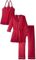 Cosabella Bella Pajama 3 Piece Set - Deep Ruby/Ivory - Large