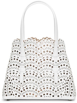 Alaia Mina Small optic white tote bag