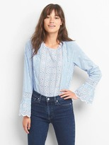 Gap Poplin eyelet bell-sleeve top