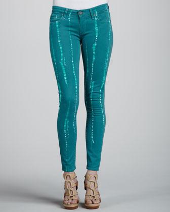 Paige Verdugo Skinny Batik Jeans, Jade