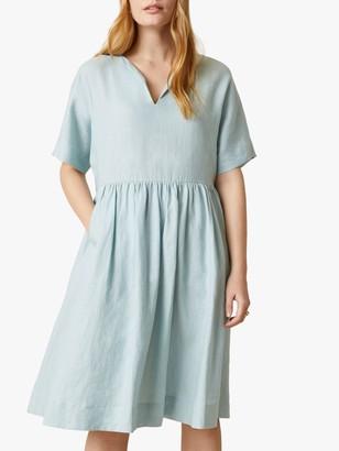 Jigsaw Linen Knee Length T-Shirt Dress, Porcelain Blue