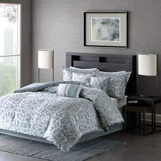 Madison Home USA 7-Piece Luxury Comforter Set in Blue Geometric Floral Print, California King
