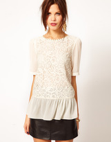 Warehouse Lace Front Peplum Top