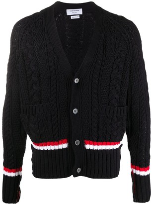 Thom Browne Tri-Stripe Trim Multi-Knit Cardigan