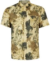 Topman Smokey Grey Marble Print Short Sleeve Casual Shirt