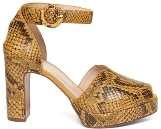 Kate Spade Perry Snakeskin-Embossed Leather Peep-Toe Pumps