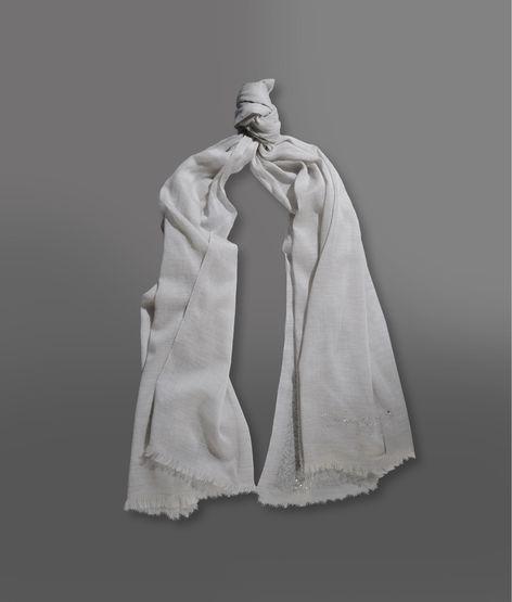 Giorgio Armani Cashmere And Cotton Scarf With Rhinestone Embellishment