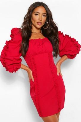 boohoo Ruffle Detail Long Sleeve Mini Dress