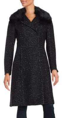Elie Tahari Raccoon Fur-Trim Speckled Coat