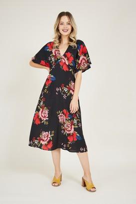 Yumi Black Blossom Floral Kimono Dress
