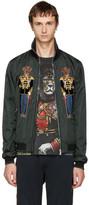Dolce & Gabbana Green Dog Knight Bomber Jacket