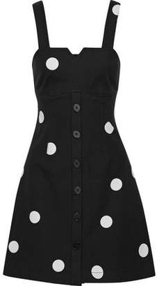 Derek Lam 10 Crosby Flared Polka-dot Stretch-cotton Twill Mini Dress