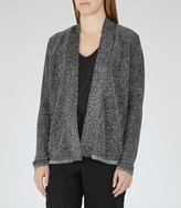 Reiss Claudine Metallic Open-Front Cardigan