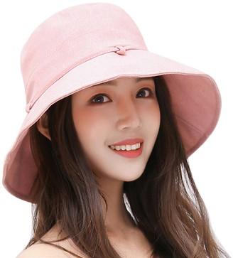 LAEMILIA Summer Bill Flap Cap UPF 50+ Cotton Sun Hat for Women Packable Wide Brim Bucket Protection Visor Hats
